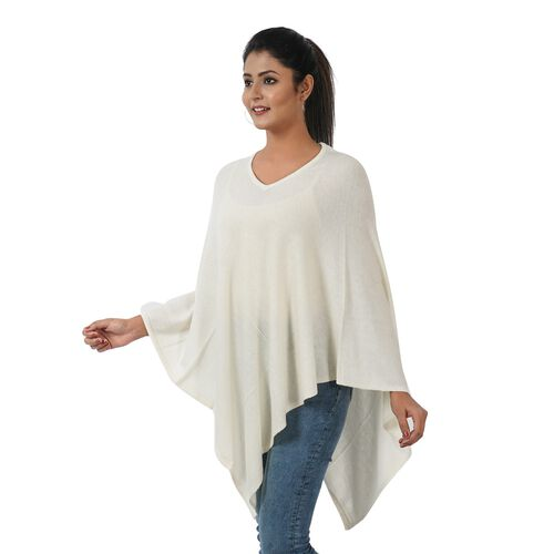 Limited Available - 100% Cashmere Wool Poncho - Cream Colour (Free Size/70x70Cm)