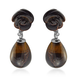 39 Ct Yellow Tiger Eye Drop Earrings in Stainless Steel