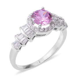 ELANZA Simulated Pink Sapphire (Rnd), Simulated Diamond Ring in Rhodium Overlay Sterling Silver