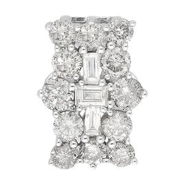 9K White Gold SGL Certified Natural Diamond (I3/G-H) Boat Cluster Pendant 1.00 Ct.