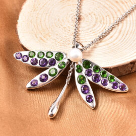 LucyQ White Freshwater Pearl, Russian Diopside and Amethyst Dragonfly Pendant with Chain (Size 24 ) in Rhodium Overlay Sterling Silver 4.87 Ct, Silver wt 13.69 Gms