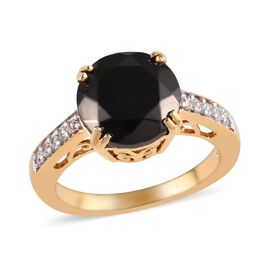 2.50 Ct Elite Shungite and Zircon Solitaire Design Ring in 14K Gold Plated Sterling Silver