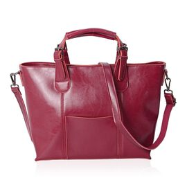 Designer Inspired Top Grain 100% Genuine Leather Fuchsia Colour Tote Bag with External Zipper Pocket and Removable Shoulder Strap (Size 39x30.5x25x11.5 Cm)