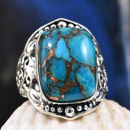 Artisan Craft Blue Turquoise (Cush 16x12 mm) Ring in Oxidised Silver Plating 11.55 Ct.