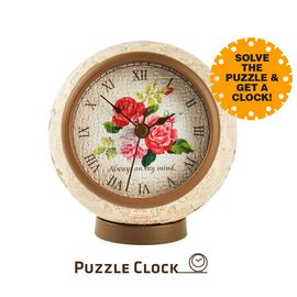 Pintoo Classic Rose 3D Puzzle Clock with 145 Puzzle Pieces (Size 10x10x10.5cm)