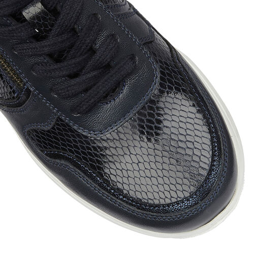 Lotus Stressless Navy Snake Leather Shira Casual Trainers (Size 3)
