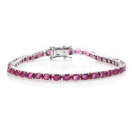 9K White Gold AA African Ruby (Ovl) Bracelet (Size 7) 9.50 Ct, Gold wt 8.17 Gms