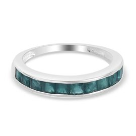 Teal Grandidierite Half Eternity Band Ring in Sterling Silver 1.00 Ct