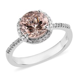 Customer Special Order 14K W Gold Morganite (2.50 Ct) and Diamond  Ring  2.760  Ct. size T