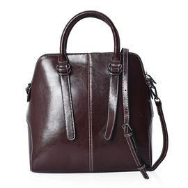 100% Genuine Leather Satchel Bag with Detachable Shoulder Strap and Zipper Closure (Size 29x12x30 Cm