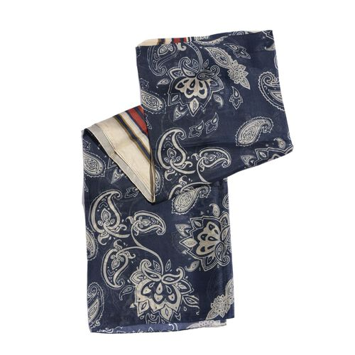 100% Mulberry Silk Navy, Cream and Multi Colour Paisley Pattern Pareo (Size 180x100 Cm)