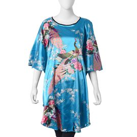 Sky Blue, Pink, Purple and Multi Colour Flower and Peacock Pattern Kimono (Size 90x75 Cm)