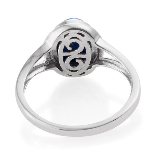 Ceruleite (Ovl) Solitaire Ring in Platinum Overlay Sterling Silver 2.250 Ct.