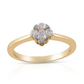0.25 Carat Diamond Five Stone Ring in 9K Yellow Gold 2.20 Grams SGL Certified I3 GH
