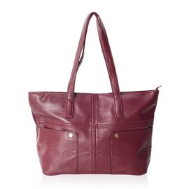 Super Light and Soft Burgundy Large Tote Bag with Multi Pockets (Size 46x37x30x12.5 Cm)