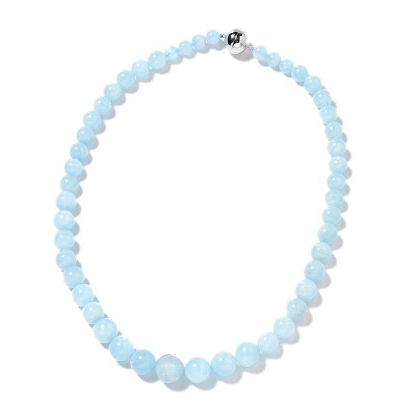 Tucson Special - Espirito Santo Aquamarine (Rnd) Adjustable Necklace (Size 18-22) in Sterling Silver