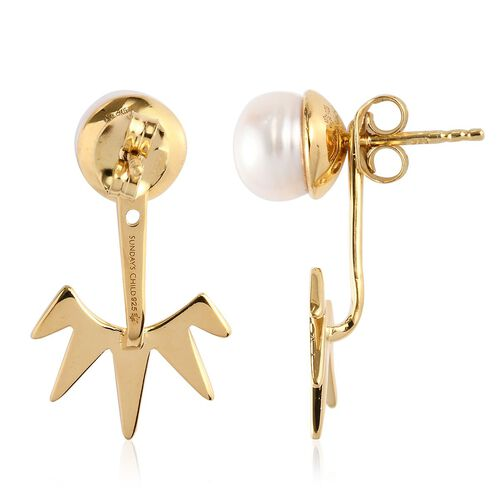 Sundays Child - Freshwater Pearl Fancy Drop Detachable Earrings (with Push Back) in 14K Gold Overlay Sterling Silver