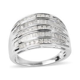 14K White Gold Diamond (I2-/G-H) Ring 1.01 Ct, Gold wt 5.80 Gms