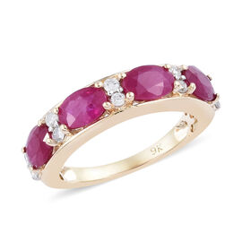 2.50 Carat AAA Burmese Ruby and Diamond Half Eternity Ring in 9K Gold
