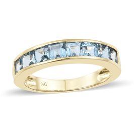 9K Yellow Gold AA Santa Maria Aquamarine (Princess) Half Eternity Band Ring 1.500 Ct.