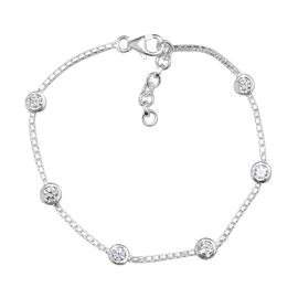 J Francis Made with SWAROVSKI ZIRCONIA Station Chain Bracelet in Silver 7.5 with 1 inch Extender