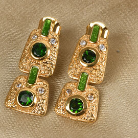 GP Russian Diopside, Natural Cambodian Zircon and Blue Sapphire Dangling Enamelled Earrings (with Push Back) in 14K Gold Overlay Sterling Silver 1.50 Ct.