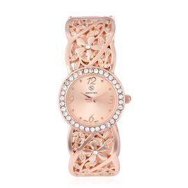 STRADA Japanese Movement  Austrian White Crystal (Rnd) Water Resistant Bangle Watch in Rose Gold Pla