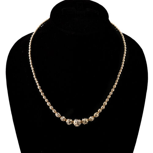 Royal Bali Collection 9K Yellow Gold Diamond Cut Graduated Bead Necklace (Size 18 and 2 inch Extender), Gold wt 13.90 Gms.