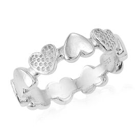 Vicenza Collection - Designer Inspired Rhodium Plated Sterling Silver Heart Eternity Ring