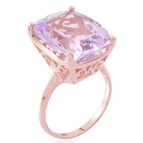 Limited Edition- Rare Size Rose De France Amethyst (Cush 20X15) Ring in Rose Gold Overlay Sterling Silver 19.000 Ct. Silver wt 5.60 Gms.