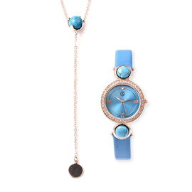 2 Piece Set - STRADA Japanese Movement Blue Howlite and White Austrian Crystal Studded Water Resista