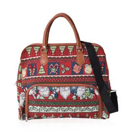 Red and Multi Colour Santa Claus Pattern Tote Bag with Detachable Shoulder Strap and Zipper Closure
