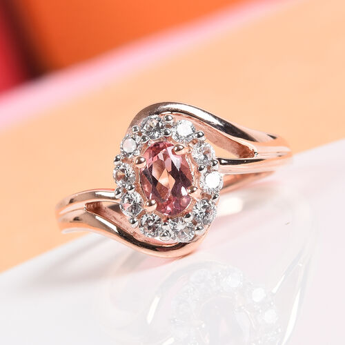 AA Pink Tourmaline and Natural Cambodian Zircon Ring in Rose Gold Overlay Sterling Silver 0.91 Ct