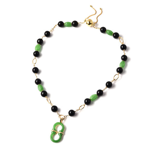 Green and Black Jade, Natural Cambodian Zircon Necklace (Size 20)  in Yellow Gold Overlay Sterling S