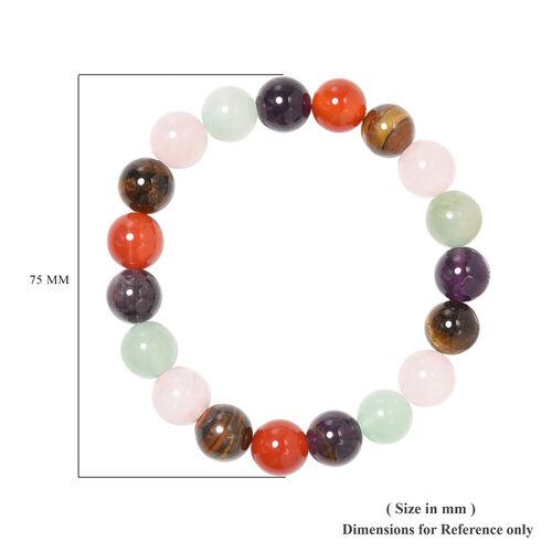 Multi Gemstone Beaded Stretchable Bracelet (Size 6.5) 134.50 Ct.