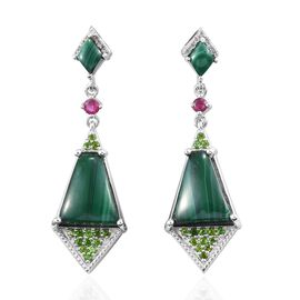 GP 19 Ct Malachite and Multi Gemstone Dangle Earrings in Platinum Plated Sterling Silver 7.50 Grams