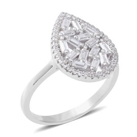 ELANZA Simulated Diamond (Bgt) Drop Cluster Ring in Rhodium Overlay Sterling Silver