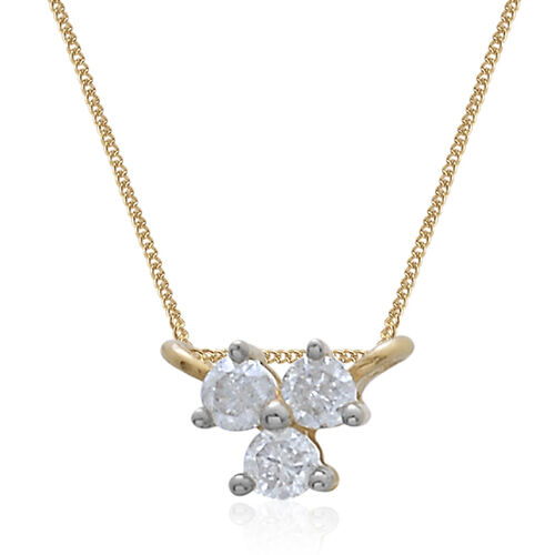 9K Yellow Gold 0.10 Ct Diamond Pendant With Chain SGL Certified (I3/G-H)