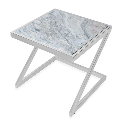 Stainless Steel Side Table with Grey Marble Top (Size 36.5x35x35 Cm)