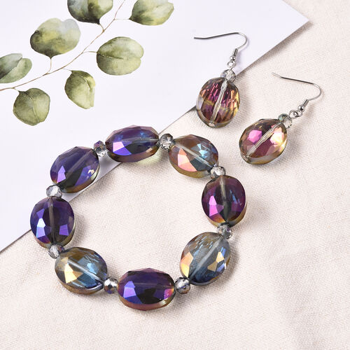 2 Piece Set - Simulated Amethyst Beads Hook Earrings and Stretchable Bracelet (Size 7)