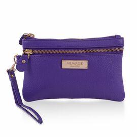100% Genuine Leather Purple Colour Wristlet Pouch (Size 18.5x12 cm)