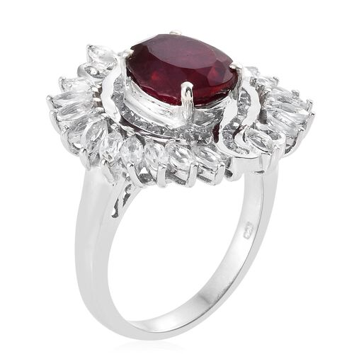 African Ruby (Ovl 5.15 Ct), White Topaz Ring in Platinum Overlay Sterling Silver 8.000 Ct. Silver wt 8.09 Gms.