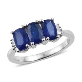 1.75 Ct Blue Spinel and Diamond 3 Stone Ring in Platinum Plated Sterling Silver