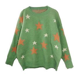 Kris Ana Star Print Wool Jumper One Size (8-16) - Green