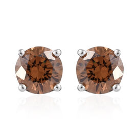 J Francis - Platinum Overlay Sterling Silver (Rnd) Stud Earrings (with Push Back) Made With Brown SW