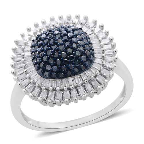 Limited Edition Blue Diamond (Rnd), White Diamond Ring in Platinum Overlay Sterling Silver 1.000 Ct.