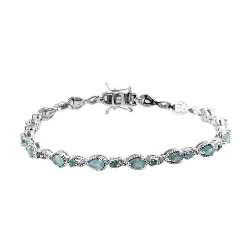 4 Ct Grandidierite Tennis Design Bracelet in Platinum Plated Silver 10.45 Grams 7.5 Grams