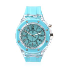 STRADA Japanese Movement Water Resistance Watch with Turquoise Blue Colour Silicone Strap