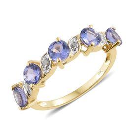 9K Yellow Gold AA Tanzanite (Rnd), Diamond Ring 2.000 Ct.