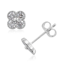 14K White Gold IGI Certified Diamond (Rnd) Stud Earrings (with Push Back)